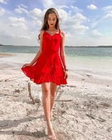 A-Line V-neck Short/Mini Chiffon Homecoming Dress With Cascading Ruffles (022164892)