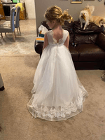 Ball-Gown/Princess Sweep Train Flower Girl Dress - Satin/Tulle/Lace Sleeveless Scoop Neck With Beading (010225326)