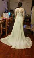 A-Line/Princess V-neck Sweep Train Chiffon Lace Wedding Dress With Beading Sequins (002134553)