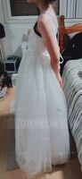 A-Line Floor-length Flower Girl Dress - Tulle/Lace Sleeveless Scoop Neck (010183558)