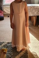 A-Line Scoop Neck Tea-Length Chiffon Junior Bridesmaid Dress With Ruffle (009217815)