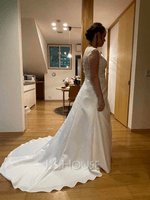 Ball-Gown/Princess V-neck Sweep Train Satin Wedding Dress With Ruffle Beading Sequins (002121436)