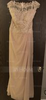 Scoop Neck Floor-Length Chiffon Lace Mother of the Bride Dress With Ruffle (267216217)