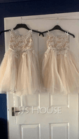 A-Line Knee-length Flower Girl Dress - Tulle/Lace Sleeveless Straps (010131729)