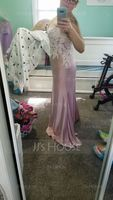 Trumpet/Mermaid Sweetheart Sweep Train Prom Dresses (272236484)