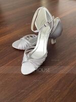 Women's Silk Like Satin Chunky Heel Sandals With Others (047118975)