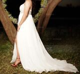 A-Line V-neck Sweep Train Chiffon Lace Wedding Dress With Split Front (002234906)