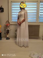 A-Line High Neck Floor-Length Chiffon Wedding Dress (002207443)