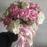 Low-key Round Satin Bridal Bouquets - (123119691)