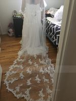 Two-tier Lace Applique Edge Chapel Bridal Veils With Lace (006141334)