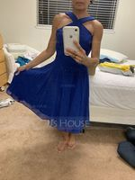 A-Line V-neck Knee-Length Chiffon Homecoming Dress (300244411)