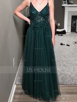 A-Line V-neck Floor-Length Tulle Evening Dress With Lace Beading Sequins Split Front (271249050)