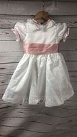 A-Line Knee-length Flower Girl Dress - Taffeta/Satin Short Sleeves Peter Pan Collar With Sash/Bow(s) (Undetachable sash) (010130882)