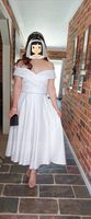 Tea-Length Satin Wedding Dress With Pockets (265251532)