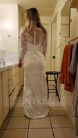 Trumpet/Mermaid Scoop Neck Court Train Stretch Crepe Wedding Dress With Beading Sequins (265236893)
