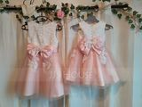 A-Line Knee-length Flower Girl Dress - Tulle/Lace Sleeveless Scoop Neck With Beading/Flower(s)/Bow(s) (010211926)