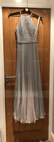 A-Line Scoop Neck Floor-Length Chiffon Lace Prom Dresses With Pleated (018157160)
