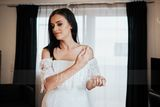 Trumpet/Mermaid Off-the-Shoulder Sweep Train Lace Wedding Dress With Bow(s) (265183682)