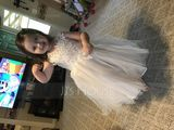 A-Line Knee-length Flower Girl Dress - Tulle/Lace Sleeveless Straps With Rhinestone (010131729)