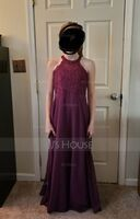 A-Line Scoop Neck Floor-Length Chiffon Lace Junior Bridesmaid Dress (009191736)