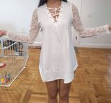 Regular Fitted Lace Solid Casual Long Sleeves (1003258791)