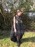 Ball-Gown/Princess Asymmetrical Flower Girl Dress - Tulle Short Sleeves Scoop Neck With Lace/Feather (010211921)