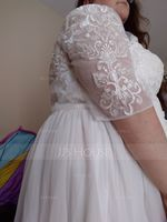 A-Line Scoop Neck Knee-Length Chiffon Lace Wedding Dress With Sequins (002234895)