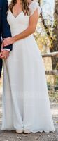 A-Line V-neck Floor-Length Chiffon Wedding Dress With Ruffle (002234892)
