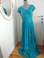 A-Line V-neck Floor-Length Chiffon Lace Mother of the Bride Dress With Beading Sequins Cascading Ruffles (008107665)