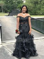 Trumpet/Mermaid Off-the-Shoulder Floor-Length Tulle Prom Dresses With Lace Beading (018146370)