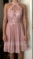 A-Line Halter Knee-Length Chiffon Homecoming Dress With Lace Beading (300244163)