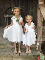 Tea-length Flower Girl Dress - Chiffon Satin Sleeveless V-neck (269193709)