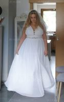 A-Line V-neck Floor-Length Chiffon Wedding Dress With Split Front (002215642)