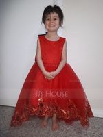 A-Line/Princess Asymmetrical Flower Girl Dress - Tulle/Lace Sleeveless Scoop Neck With Appliques (010147443)