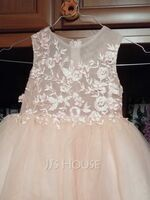 Ball-Gown/Princess Knee-length Flower Girl Dress - Tulle/Lace Sleeveless Scoop Neck With Lace/Beading (010211902)