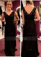 V-neck Floor-Length Chiffon Lace Bridesmaid Dress With Beading Sequins Split Front Pockets (266209691)