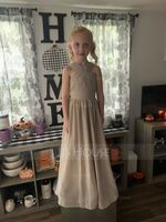 A-Line Floor-length Flower Girl Dress - Chiffon Sleeveless V-neck With Bow(s) (010113816)