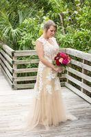 A-Line/Princess V-neck Sweep Train Tulle Wedding Dress (002110618)