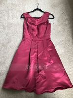 Scoop Neck Knee-Length Satin Bridesmaid Dress With Cascading Ruffles (266209914)