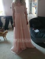 A-Line/Princess Scoop Neck Floor-Length Chiffon Lace Bridesmaid Dress With Ruffle (266186590)