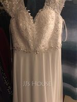 A-Line V-neck Floor-Length Wedding Dress With Lace Beading Sequins (002254056)