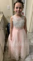 Ball-Gown/Princess Scoop Neck Court Train Junior Bridesmaid Dress With Lace Beading Bow(s) (009136434)