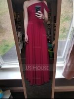 One-Shoulder Floor-Length Chiffon Bridesmaid Dress (266213306)