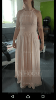 Chiffon Halter-neck Floor-length Bridesmaid Dress With Lace
