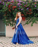 V-neck Sweep Train Satin Prom Dresses With Beading Sequins Split Front (272207951)