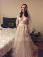 One-tier Lace Applique Edge Fingertip Bridal Veils With Applique (006121691)