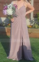 V-neck Floor-Length Chiffon Bridesmaid Dress With Ruffle Split Front (266225790)