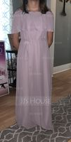 Off-the-Shoulder Floor-Length Chiffon Junior Bridesmaid Dress With Bow(s) (268234480)