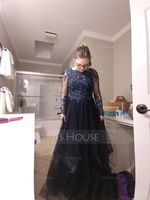 Scoop Neck Floor-Length Tulle Prom Dresses (272214568)