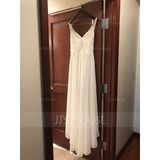 V-neck Sweep Train Chiffon Wedding Dress With Beading Sequins Split Front (265230734)